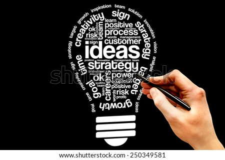 Ideas Sphere Bulb word cloud, business concept - stock photo