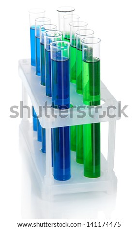 Identical test tubes isolated on white - stock photo