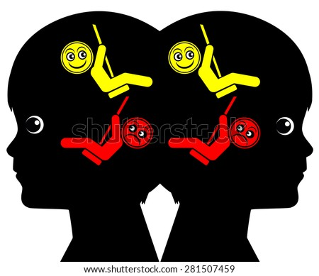 Identical Twins with identical Mood Swings. These Twins share the same structure of feeling and emotional state - stock photo
