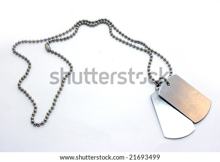Identification badges on a chain - stock photo