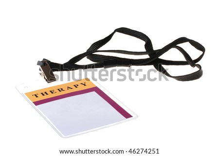 Identification card of the doctor working in therapeutic branch of hospital. - stock photo