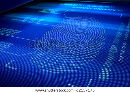 identification system scanning human fingerprint - stock photo