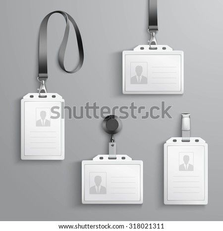 Identification white blank plastic id cards set with clasp and lanyards isolated  illustration - stock photo