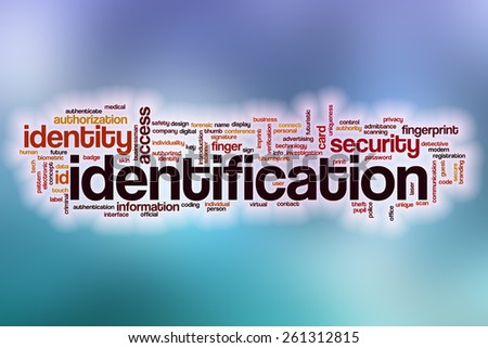 Identification word cloud concept with abstract background - stock photo