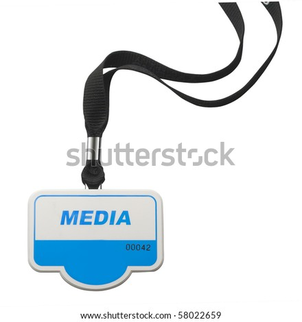 Identity badge with MEDIA lettering on white with clipping path - stock photo
