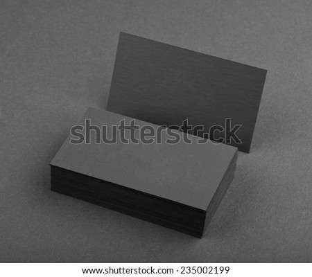 identity design, corporate templates, company style, black business cards on a black background - stock photo