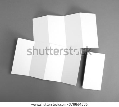identity design, corporate templates, company style, blank white folding paper flyer - stock photo