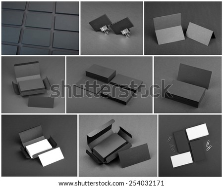 identity design, corporate templates, company style, set of business cards on a black background - stock photo