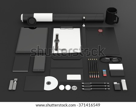 Identity mock up. Set of blank stationery for branding identity on black background. Tablet, smart phone, smart watch, paper A4, CD envelope, letterhead, flash drive, business cards, tube. 3D render. - stock photo