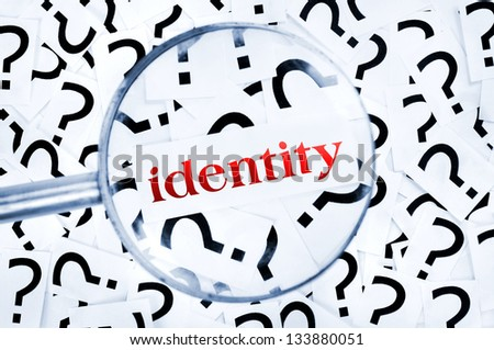 Identity word found in many question marks - stock photo