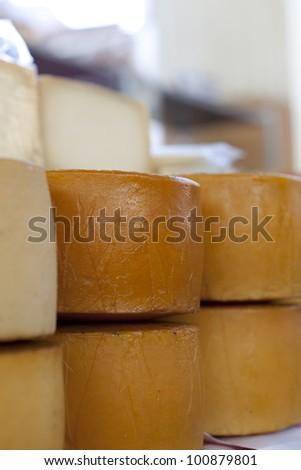 Idiazabal cheese, Ordizia, Goierri, Guipuzcoa, Basque Country, Spain - stock photo