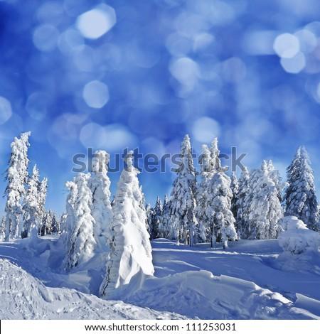 idillic mountain winter landscape - stock photo