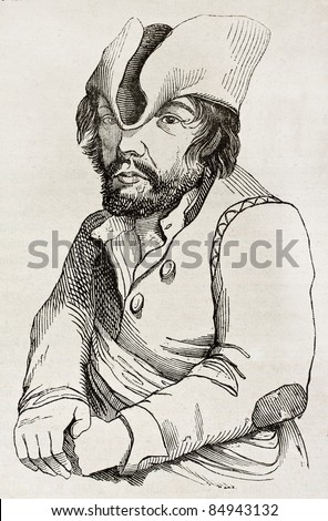 Idiot man from Valais, old illustration. By unidentified author, published on Magasin Pittoresque, Paris, 1840 - stock photo
