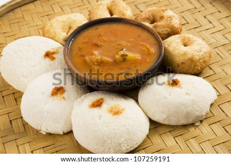 Idli vada & Sambar - stock photo