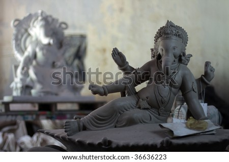 Idols of Lord Ganesha are worshiped during the Ganpati festival in India - stock photo