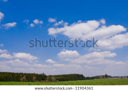 idylic landscape with contrast sky - stock photo