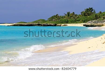 Idyllic beach of Caribbean Sea in Mexico - stock photo