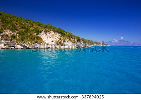 Idyllic coastline of Zakynthos island, Greece - stock photo