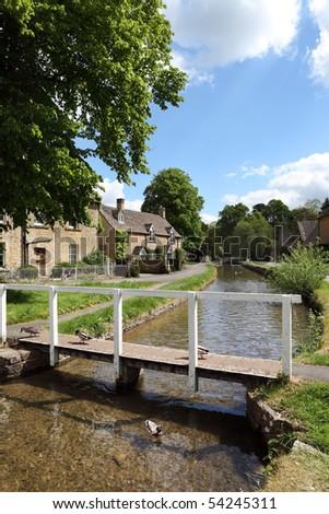 Idyllic Cotswolds village, Lower Slaughter - stock photo