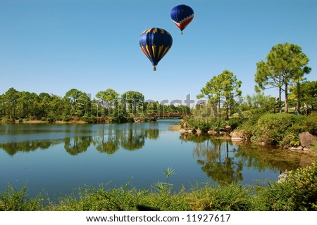 Idyllic countryside with hot air balloons floating
