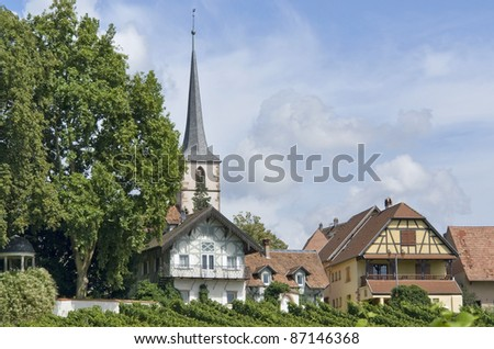 idyllic detail of Mittelbergheim, a village of a region in France named Alsace - stock photo