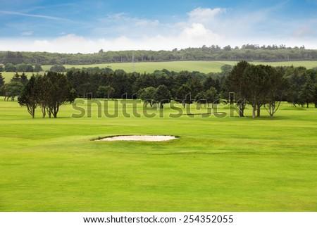 Idyllic golf course scenery - stock photo