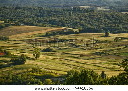 Idyllic green valley natural scenery under Kalnik mountain, Croatia - stock photo