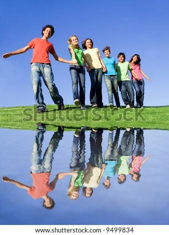 idyllic group of teenagers - stock photo