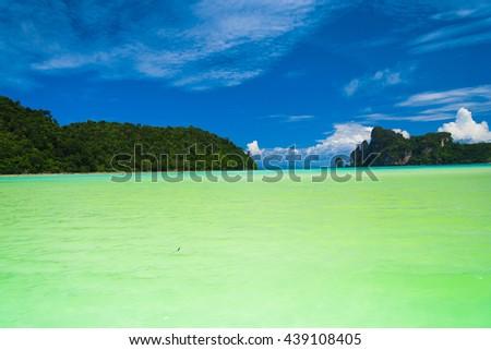 Idyllic Island Blue Seascape  - stock photo