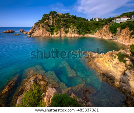 Idyllic Lagoon and Famous Botanical Garden in Blanes, Catalonia, Spain