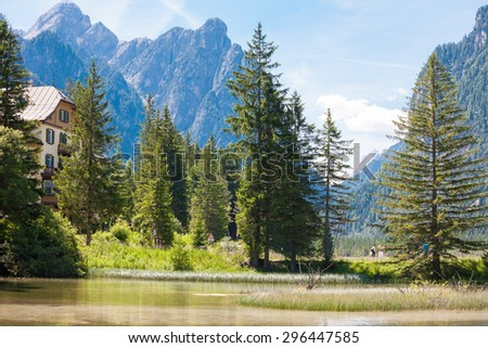 Idyllic landscape at Lake dobbiaco, in Dolomites mountain, Italy, Sudtirol