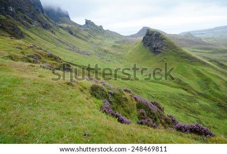 Idyllic landscape of the Quiraing mountain range in the Isle of Skye in Scottish Highlands, in Scotland UK. - stock photo