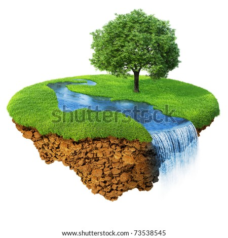 Idyllic natural landscape. Lawn with river, waterfall and one tree. Fancy island in the air isolated. Detailed ground in the base. Concept of success and happiness, idyllic harmony lifestyle. - stock photo