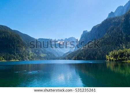Idyllic Panorama Gosausee Lake, Austria, Europe