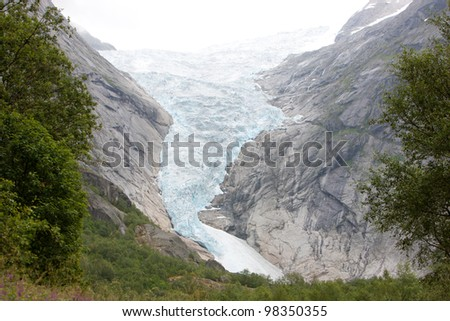 Idyllic picture of glacier Jostedalsbreen, Norway, Europe - stock photo