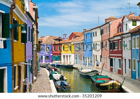 Idyllic Place with colorful houses in Burano Venice - stock photo