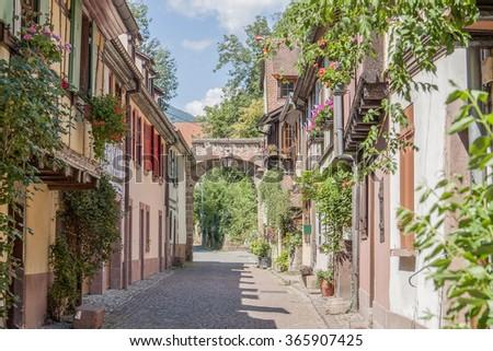 Idyllic scenery in Kaysersberg, a city in Alsace, France - stock photo