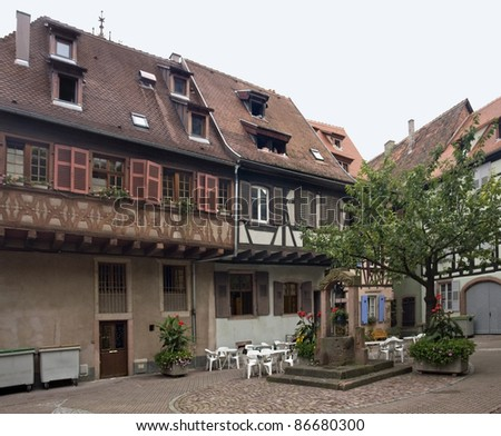 idyllic scenery with timbered houses in Selestat - stock photo