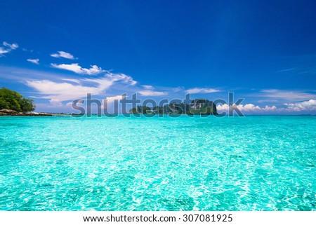 Idyllic Seascape Desert Island  - stock photo