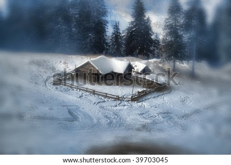 idyllic sheepfold in Christmas - stock photo
