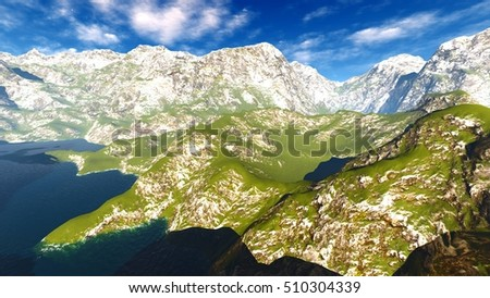 Idyllic summer landscape in the Alps 3d rendering