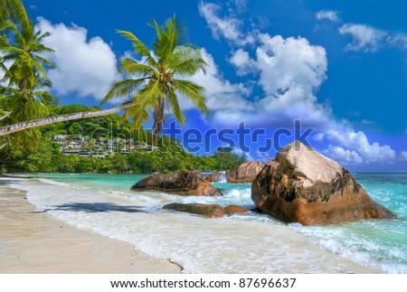idyllic tropical scenery - beautiful Seychelles - stock photo
