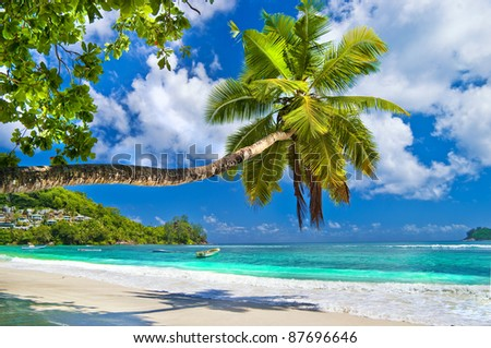 idyllic tropical scenery - Seychelles - stock photo