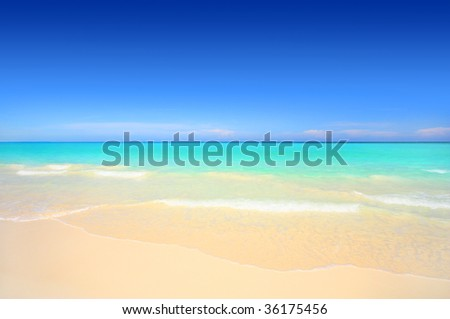 Idyllic tropical white sand beach with turquoise blue waters on a sunny summer day - stock photo
