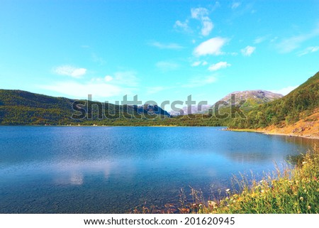 Idyllic view of and mountains of Norway - stock photo