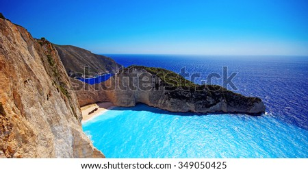 Idyllic view of beautiful Navagio Beach (Shipwreck) on Zakynthos Island in Greece - stock photo