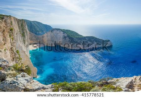 Idyllic view of beautiful Navagio shipwreck  Beach on Zakynthos Island in Greece ultra high resolution 92 MP - stock photo