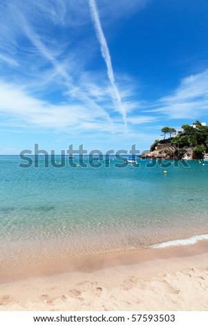 Idyllic view of peaceful seaside on a sunny day - stock photo