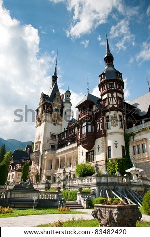 Idyllic view of Peles castle