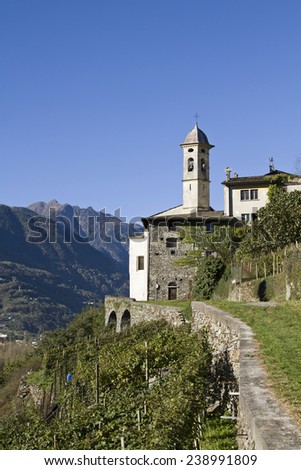 Idyllic village Sass Ella in the wine growing region of Valtellina wine - stock photo